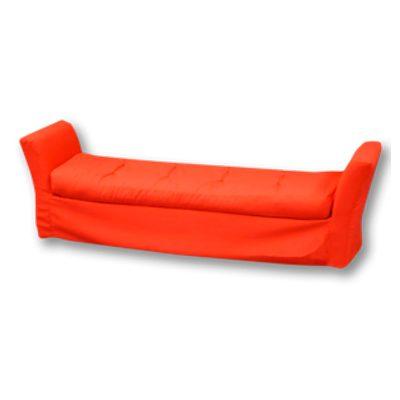 Alquiler de mobiliario para eventos. banco aun puff divan rojo