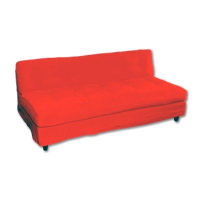 Alquiler de mobiliario para eventos. Sofa aun 3 cuerpos rojo