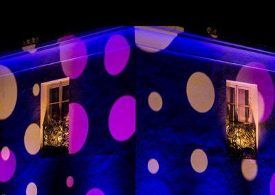 Iluminación con texturas para fiestas